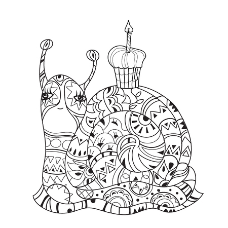 zoo dry: Zen art stylized snail with birthday cake. Hand Drawn vector illustration. Sketch for tattoo or makhenda or adult anti stress coloring. Boho doodle style.