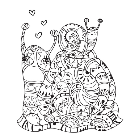 zoo dry: Zen art stylized snails in love. Hand Drawn vector illustration. Sketch for tattoo or makhenda or adult anti stress coloring. Boho style doodle .