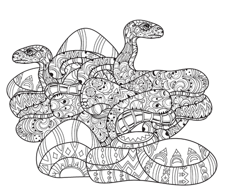 forked tongue: Hand drawn doodle outline anaconda decorated with ornaments.Vector zen art boho illustration.Floral ornament.Ready for adult anti stress coloring book.