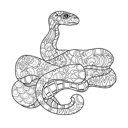 zoo dry: Hand drawn doodle outline anaconda decorated with ornaments.Vector zen art boho illustration.Floral ornament.Ready for adult anti stress coloring book.