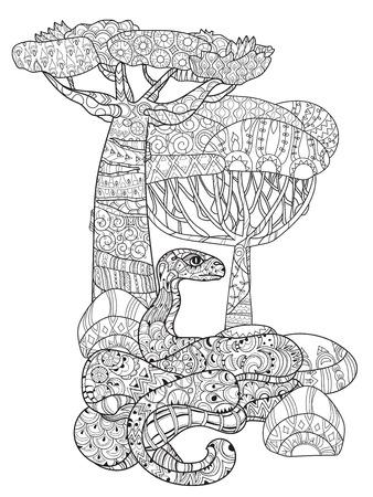 Hand gezeichnet Doodle Umriss Anakonda dekoriert mit ornaments.Vector Zenkunst Boho illustration.Floral ornament.Ready für Erwachsene Anti-Stress-Malbuch.