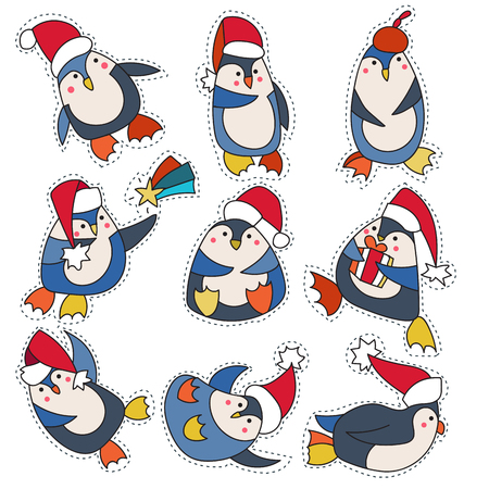 Set cartoon patch badges or fashion pin badges.Penguin in christmas hat hand drawn vector full color sketch. Illustration