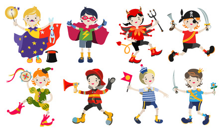 playmates: Amusing characters of boys in carnival costumes.Hand drawn vector illustration.Flat style.