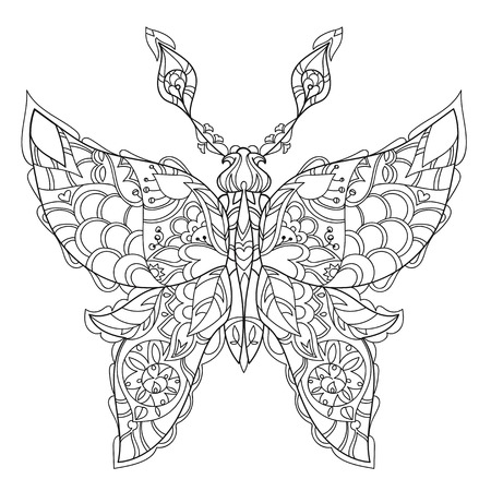 Stylized tropical lace butterfly of paradise.Hand drawn vector illustration. Sketch for tattoo or makhenda or adult coloring anti stress book. Insect collection boho style.