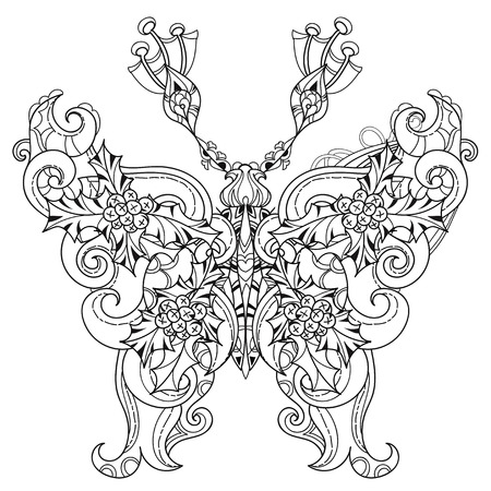 batterfly: Stylized tropical lace butterfly of christmas.Hand drawn vector illustration. Sketch for tattoo or makhenda or adult coloring anti stress book. Insect collection boho style. Illustration