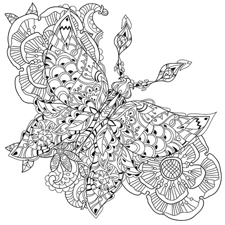 extravagant: Stylized tropical lace butterfly of paradise with flowers.Hand drawn vector illustration. Sketch for tattoo or makhenda or adult coloring anti stress book. Insect collection boho style. Illustration