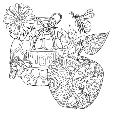 Honey pot, apple doodle and bees.Hand drawn vector illustration. Sketch for tattoo adult coloring anti stress book. Zen art collection boho style.