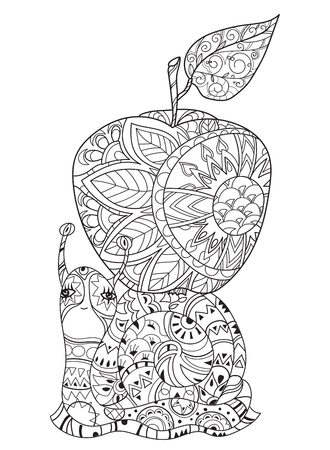 apple snail: Zen art stylized snail with apple. Hand Drawn vector illustration. Sketch for tattoo or makhenda or adult anti stress coloring. Boho doodle style.