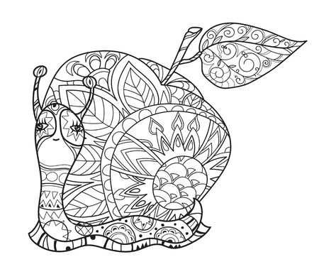 zoo dry: Zen art stylized snail with fairy apple house. Hand Drawn vector illustration. Sketch for tattoo or makhenda or adult anti stress coloring. Boho doodle style.
