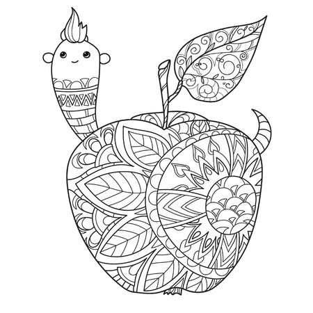 Honey apple doodle and worm.Hand drawn vector illustration. Sketch for tattoo adult coloring anti stress book. Zen art collection boho style. Ilustração