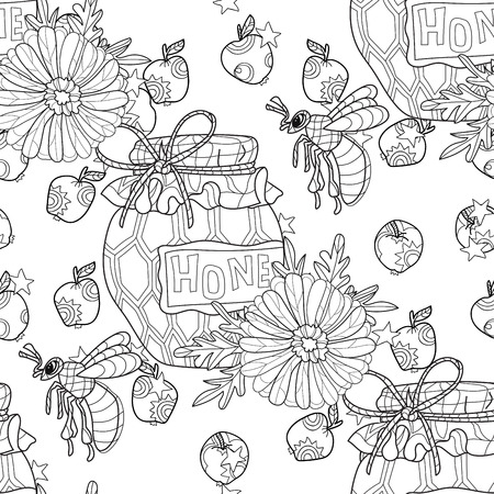 honeyed: Honey pot doodle and bee with flowers seamless pattern.Hand drawn vector illustration. Sketch for tattoo adult coloring anti stress book. Insect collection boho style.