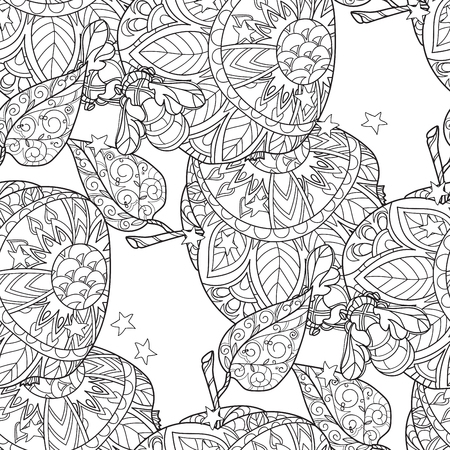 Honey apple doodle and bees semless pattern.Hand drawn vector illustration. Sketch for tattoo adult coloring anti stress book. Zen art collection boho style. Ilustracja