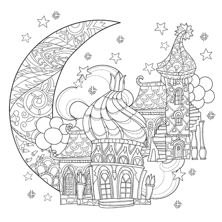 Vector cute christmas fairy europe tale town doodle.Hand drawn line illustration.Sketch for postcard or print or coloring anti stress adult book.Boho zen art style.