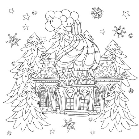 christmas fairy: Vector cute christmas fairy europe tale town doodle.Hand drawn line illustration.Sketch for postcard or print or coloring anti stress adult book.Boho zen art style.
