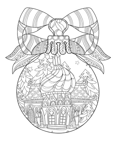 tree line: Vector cute fairy tale town doodle in christmas fir tree ball.Hand drawn line illustration.Sketch for postcard or print or coloring adult anti stress book.Boho zen art style.
