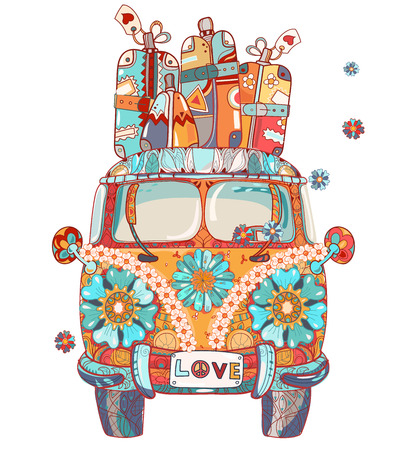 Hand drawn doodle outline retro bus travel decorated with ornaments front view.Vector zen art illustration.Floral ornament.Sketch for tattoo or print.Boho style. Illustration