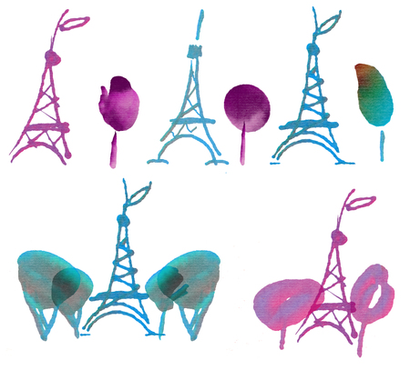 Watercolor sketch Eiffel tower set. Hand drawn illustration. France Paris collection.Free style
