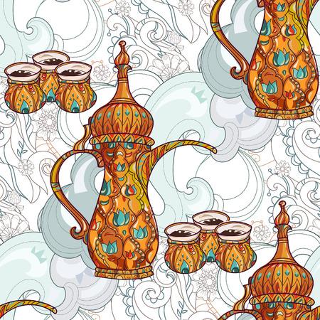 arabic coffee: Arabic coffee maker dalla with cups seamless pattern. Greeting card or invitation, hand drawn sketch.Zen art hand drawn. Illustration