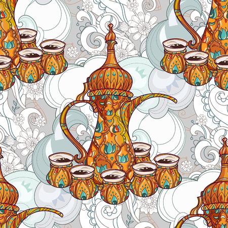 arabic coffee: Arabic coffee maker pot dalla with cups seamless pattern. Greeting card or invitation, hand drawn sketch.Zen art hand drawn. Illustration