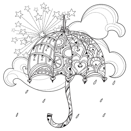 anti season: Hand drawn doodle outline umbrella decorated with floral ornaments.Vector zen art illustration.Floral ornament.Sketch for tattoo, poster or adult anti stress relax coloring pages.Boho style.