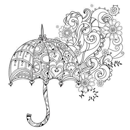 Hand drawn doodle outline umbrella decorated with floral ornaments.Vector zen art illustration.Floral ornament.Sketch for tattoo, poster or adult anti stress relax coloring pages.Boho style.