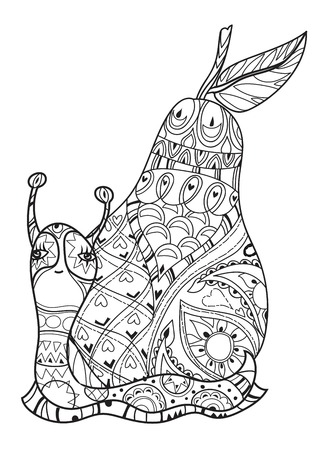 zoo dry: Zen art stylized snail with fairy pear house. Hand Drawn vector illustration. Sketch for tattoo or makhenda or adult anti stress coloring. Boho doodle style. Illustration
