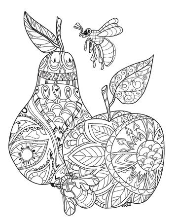 Honey apple and pear doodle and bees.Hand drawn vector illustration. Sketch for tattoo adult coloring anti stress book. Zen art collection boho style. Ilustracja