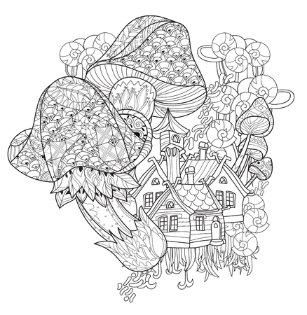 Hand drawn doodle outline magic mushrooms decorated with floral ornaments.Vector zen art illustration.Floral ornament.Sketch for tattoo, poster, children or adult coloring relax anti sress pages.Boho style. Stock Illustratie