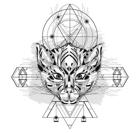 Icono Triangular De Cabeza De Animal, Línea De Diseño Geométrico De ...