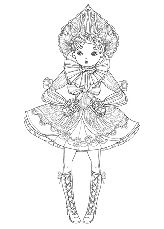 Vector cute fairy gothic lolita girl in nice dress.Vector line illustration.Sketch for postcard or print or coloring adult book.Boho style.