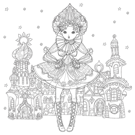 Vector cute fairy gothic lolita girl in nice dress.Vector line illustration.Sketch for postcard or print or coloring adult book.Boho style.Fairy christmas europe town.