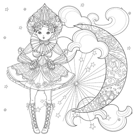 lolita: Vector cute fairy gothic lolita girl in nice dress.Vector line illustration.Sketch for postcard or print or coloring adult book.Boho style half moon.