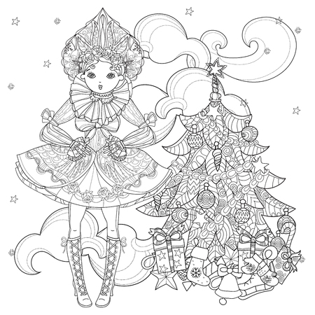 Vector cute fairy gothic lolita girl in nice dress near christmas fir tree and gifts.Vector line illustration.Sketch for postcard or print or coloring adult book.Boho style.
