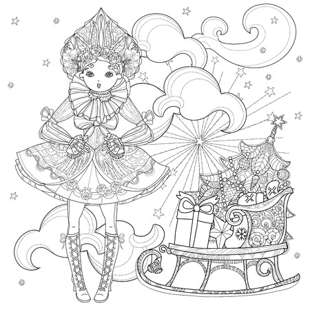 Vector cute fairy gothic lolita girl in nice dress near christmas sledge with gifts.Vector line illustration.Sketch for postcard or print or coloring adult book.Boho style.