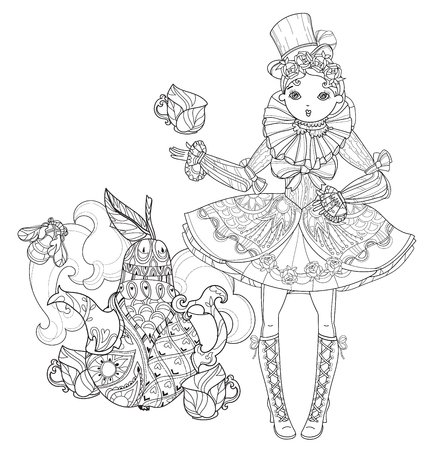 Vector cute fairy gothic lolita girl in nice dress near pear tea pot.Vector line illustration.Sketch for postcard or print or coloring adult book.Boho style. Illustration