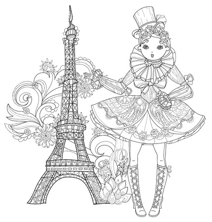 Vector cute fairy gothic lolita girl in nice dress.Vector line illustration.Sketch for postcard or print or coloring adult book.Boho style.Paris eiffel tower.