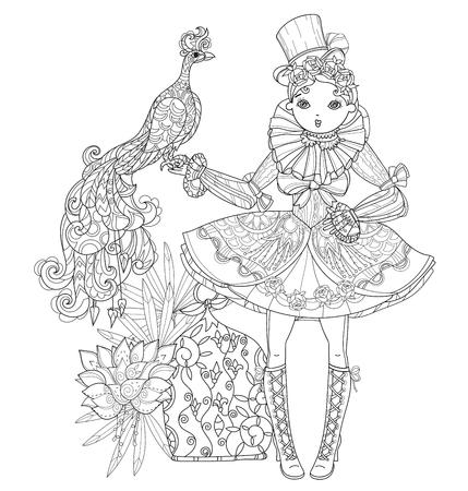 Vector de hadas linda chica lolita gótica en vestido bonito con el pavo real de línea .Vector illustration.Sketch para la postal o de impresión o estilo book.Boho coloración adulta.