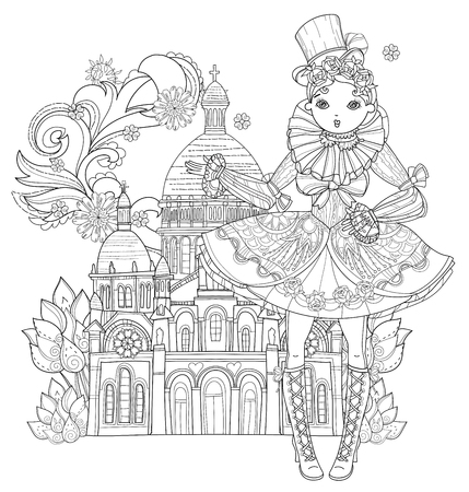 Vector cute fairy gothic lolita girl in nice dress in Paris.Vector line illustration.Sketch for postcard or print or coloring adult book.Boho style.Europe town landscape.