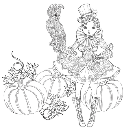 Vector cute fairy gothic lolita girl in nice dress with parrot near pumpkins.Vector line illustration.Sketch for postcard or print or coloring adult book.Boho style.