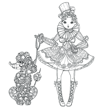 Vector cute fairy gothic lolita girl in nice dress with poodle.Vector line illustration.Sketch for postcard or print or coloring adult book.Boho style.