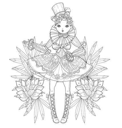 Vector cute fairy gothic lolita girl in nice dress with flowers.Vector line illustration.Sketch for postcard or print or coloring adult book.Boho style. Illustration