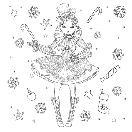 lolita: Vector cute fairy gothic lolita girl in nice dress.Vector line christmas illustration.Sketch for postcard or print or coloring adult book.Boho style.