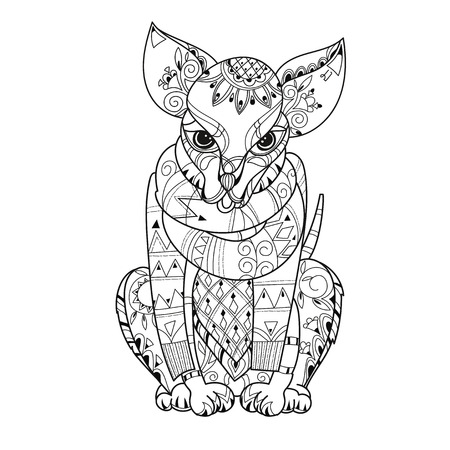 Hand drawn doodle outline cute dog decorated with ornaments.Vector zen art illustration.Floral ornament.Sketch for tattoo or relax anti stress adult coloring pages. Illustration