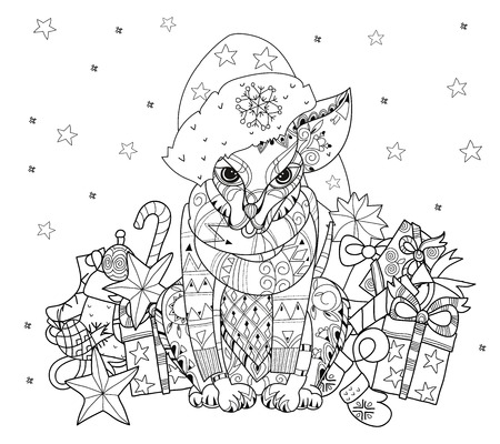 christmas tattoo: Hand drawn doodle outline dog decorated with ornaments in christmas hat .Vector zen art illustration.Floral ornament.Sketch for tattoo or relax anti stress adult coloring pages. Illustration