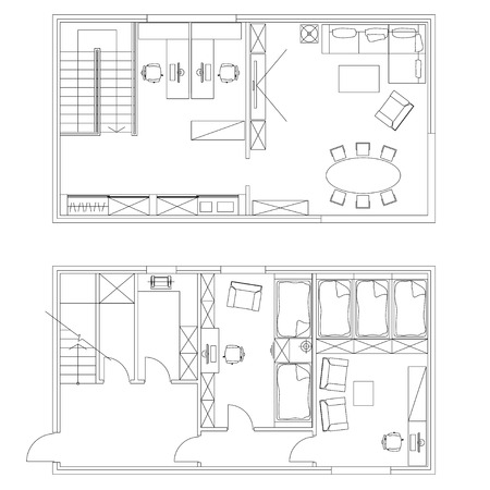 Standard office furniture symbols set used in architecture plans, office planning icon set, graphic design elements. Small Office room - top view plans. Vector isolated.