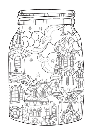christmas fairy: Vector cute christmas fairy europe tale town doodle in magic jar.Hand drawn line illustration.Sketch for postcard or print or coloring anti stress adult book.Boho zen art style.