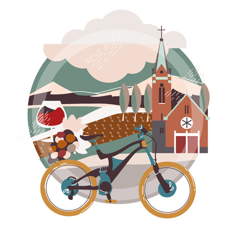 Flat illustration of downhill bicycle in europe town, France,Germany.