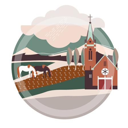 Flat style illustration of europe village, France,Germany Illustration