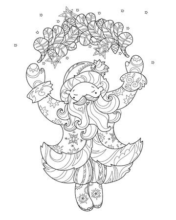Vector Doodle De Navidad Santa Claus Con Sleige.Hand Línea Trazada ...