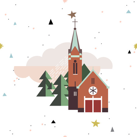 Flat style illustration of europe village, France,Germany.Seamless christmas pattern.Ready for t-shirt design or party birthday invitation, wrap paper.